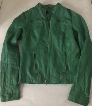 100% Fashion Veste en cuir synthétique vert