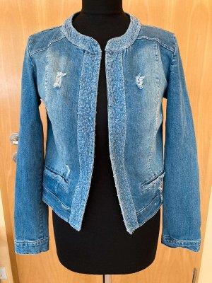 Super süße Jeansjacke, blau mit Pailletten, Pink Cherry, Made in Italy, Gr. M, NEU mit Etikett!