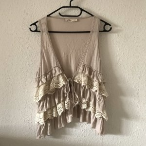 Elodie Fringed Vest natural white-beige