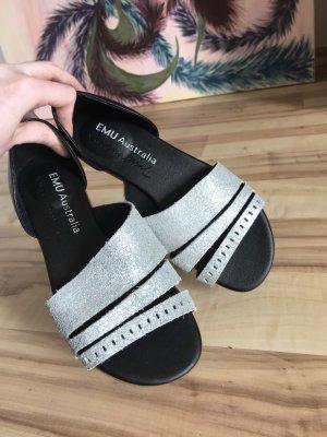 Emu Dianette Sandals black-silver-colored leather
