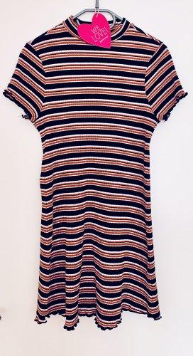 Super tolles Minikleid Kurzarm Kleid Streifen Stretch Größe 38/40 Primark hoher Kragen Orange Blau Weiß wie neu
