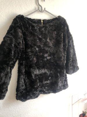 Zara Knit Chaqueta de piel sintética negro-color oro