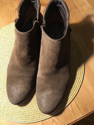 Paul Green Zipper Booties grey brown leather
