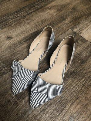 Cox Ballerina's met kant wit-donkerblauw