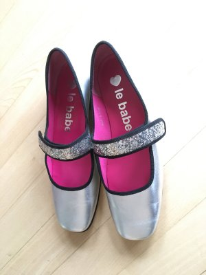 le babe Mary Jane Ballerinas silver-colored leather