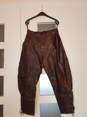 Pantalón de cuero marrón oscuro-marrón Cuero
