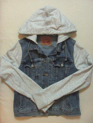 Supercoole, seltene LEVIS Jeansjacke mit Sweatärmeln+ Kapuze, Größe S