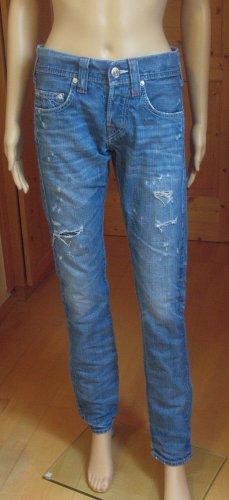 True Religion Boyfriend Jeans steel blue-cornflower blue cotton