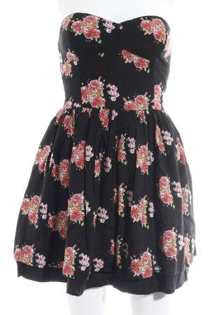 Superdry A-Linien Kleid schwarz Blumenmuster Logo-Applikation