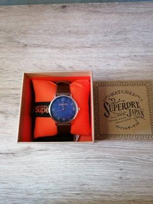 Superdry Montre avec bracelet en cuir brun-bleu foncé