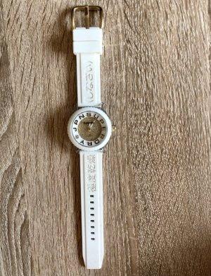 Superdry Armbanduhr weiß gold Glitzer Steinchen Damenuhr