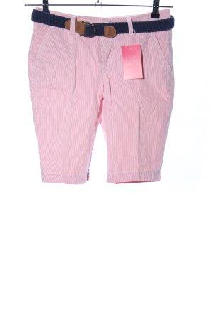 Superdry Bermuda roze-wit gestreept patroon casual uitstraling
