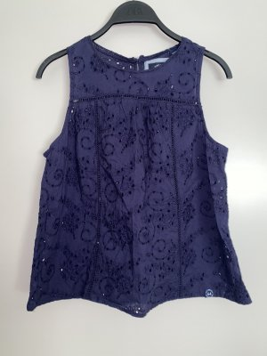 Superdry Bluse Top Shirt Lochstrickerei Blau M 38 Neu