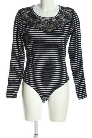 Superdry Blusen-Body schwarz-weiß Streifenmuster Casual-Look
