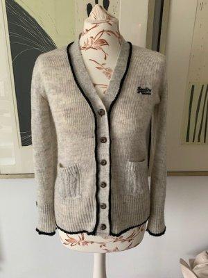 SuperDry Cardigan Strickjacke für Damen mit aufgesetzten Taschen und tollen Styling-Details