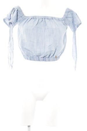 Superdry Cropped Top himmelblau-kornblumenblau Jeans-Optik
