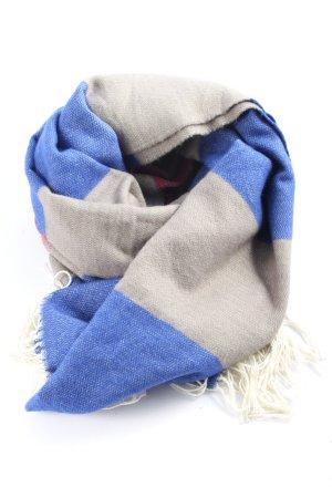 Superdry Szalik z frędzlami niebieski-jasnoszary Wzór w paski W stylu casual
