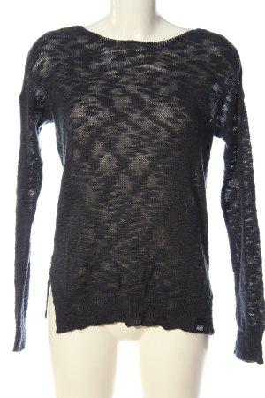 Superdry Szydełkowany sweter czarny W stylu casual