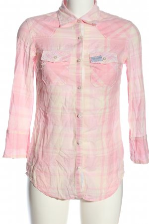 Superdry Hemd-Bluse creme-pink Karomuster Casual-Look