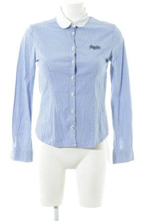Superdry Hemd-Bluse blau-weiß Streifenmuster Casual-Look