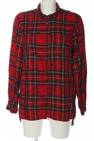 Superdry Hemd-Bluse rot-grün Allover-Druck Casual-Look