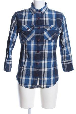 Superdry Hemd-Bluse blau-weiß Karomuster Casual-Look