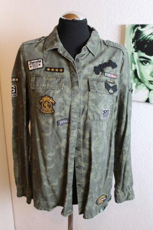 Superdry Hemd Militär Military Hemd Damen Khaki mit Tiger
