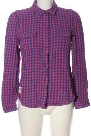 Superdry Holzfällerhemd blau-pink Karomuster Casual-Look