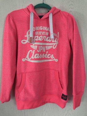 Superdry Sweter z kapturem różowy neonowy