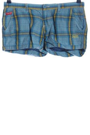 Superdry Hot Pants blau-blassgelb Allover-Druck Casual-Look