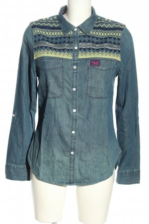 Superdry Jeansbluse blau-blassgelb grafisches Muster Casual-Look