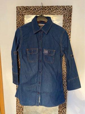 SUPER DRY Camicia denim blu acciaio