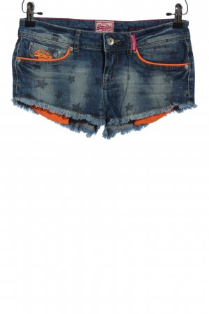 Superdry Jeansshorts blau Allover-Druck Casual-Look