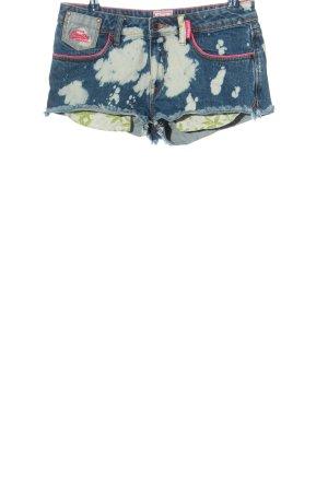 Superdry Jeansshorts blau-weiß abstraktes Muster Casual-Look