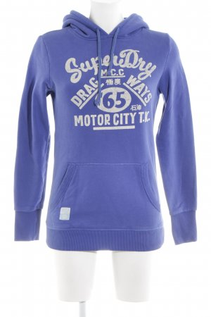 Superdry Capuchon sweater blauw-wit gedrukte letters casual uitstraling