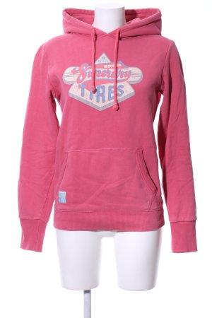 Superdry Kapuzenpullover pink Schriftzug gedruckt Casual-Look
