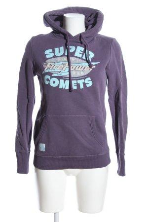 Superdry Sudadera con capucha lila-turquesa letras impresas look casual