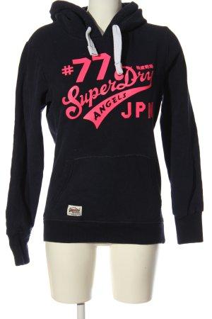 Superdry Kapuzensweatshirt schwarz-pink Motivdruck Casual-Look