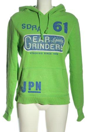 Superdry Kapuzensweatshirt grün-blau Schriftzug gedruckt Casual-Look