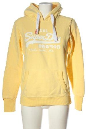 Superdry Kapuzensweatshirt blassgelb Schriftzug gedruckt Casual-Look