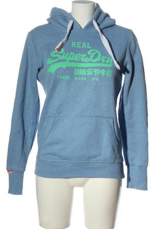 Superdry Kapuzensweatshirt blau-grün Schriftzug gedruckt Casual-Look
