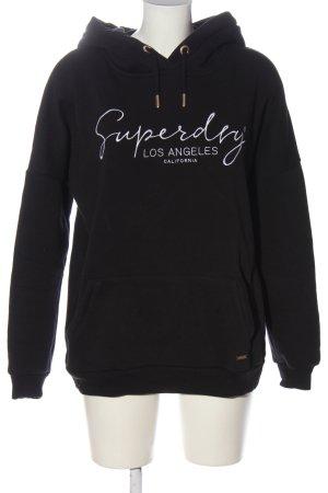 Superdry Kapuzensweatshirt schwarz-weiß Schriftzug gestickt Casual-Look