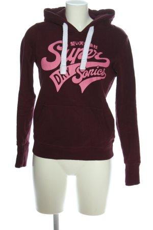 Superdry Kapuzensweatshirt rot-pink Schriftzug gedruckt Casual-Look