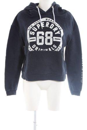Superdry Sudadera con capucha azul-blanco letras impresas look casual