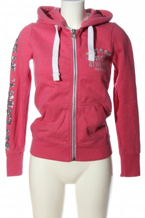 Superdry Kapuzensweatshirt pink-silberfarben Schriftzug gedruckt Casual-Look
