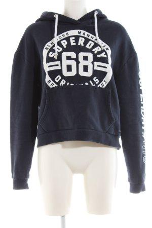 Superdry Kapuzensweatshirt blau-weiß Schriftzug gedruckt Casual-Look