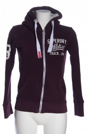 Superdry Kapuzensweatshirt braun-weiß Schriftzug gestickt Casual-Look