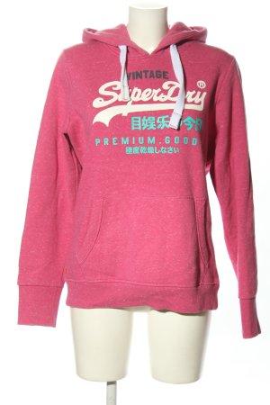 Superdry Kapuzensweatshirt pink Schriftzug gedruckt Casual-Look