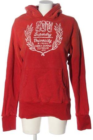 Superdry Kapuzensweatshirt rot-weiß Schriftzug gedruckt Casual-Look