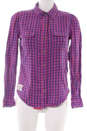 Superdry Camicia a scacchi rosa-lilla motivo a quadri stile casual